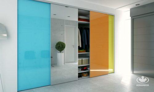 Szklane drzwi przesuwne na wymiar do przedpokoju